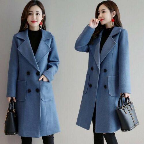 Hot Womens Double Breasted Trench Coat Faux Woolen Outwear Lapel Jackets M-4XL D