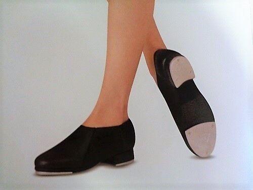 """elastic gore 3//4/"""" heel Adult Sizes NEW 2 pc sole Leo/'s Slip-On Jazz Tap Shoe"""
