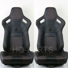 2 X Tanaka Premium Black Carbon Pvc Leather Racing Seats Red Stitch For Toyota Fits Toyota Celica
