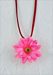Real-Daisy-Flower-Pendant-Necklace-Leather-Cord-Pink-Color-Blossom-w-Gift-Box