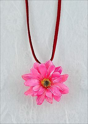 Real Daisy Flower Pendant Necklace Leather Cord Pink Color Blossom w/ Gift Box