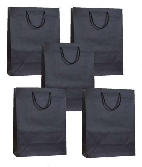 ROPE HANDLES 25 MATT LAMINATED GIFT BAGS ~ LUXURY BIRTHDAY PRESENT MEDIUM BAG