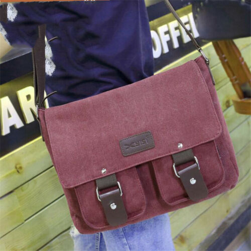 Men Military Canvas Leather Satchel School  Shoulder Messenger Bag LC
