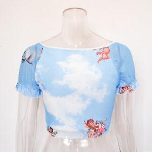 Women-T-Shirt-Short-Sleeve-Floral-V-Neck-Cami-Tank-Tops-Summer-Crop-Top-New