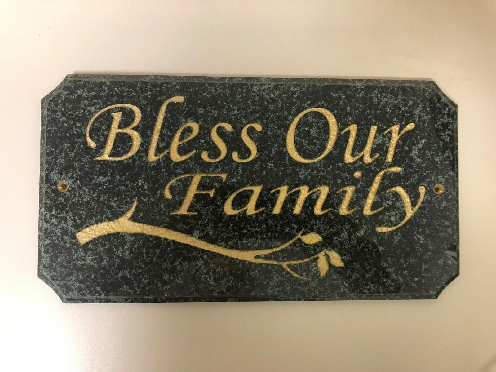 Bless Our Family  Engraved Granite Wall Plaque, Jade Granite with Gold Letters
