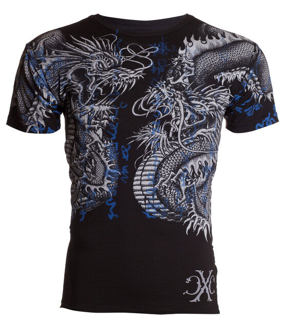 XTREME COUTURE by AFFLICTION Mens T-Shirt DOUBLE UP Dragons Tattoo Biker MMA $40