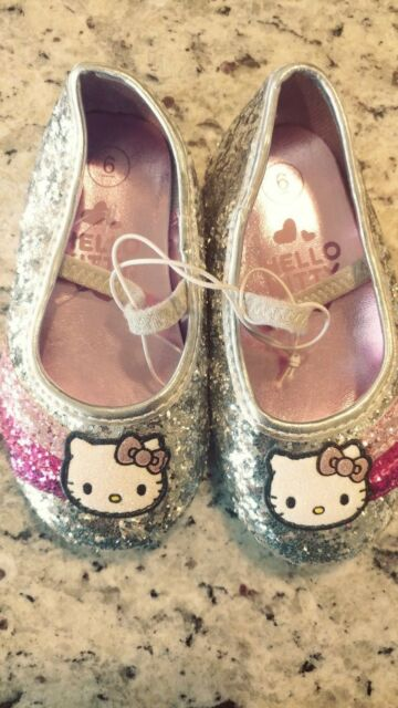 46e65fa86 Hello Kitty Silver Sequin Toddler Girls Size 13 Ballet Flats Dress Shoes  Slip on