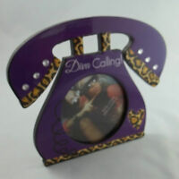 Diva Calling Telephone Cheetah Heart Standing Picture Photo Frame 3.5x3.5