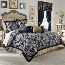 Croscill IMPERIAL Queen Comforter Bedding Set Blue, Gold
