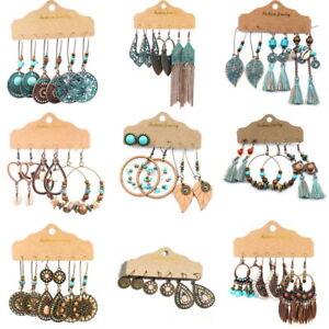 3-Pairs-Gypsy-Retro-Geometric-Tassel-Drop-Dangle-Earrings-Women-Jewelry-Fashion