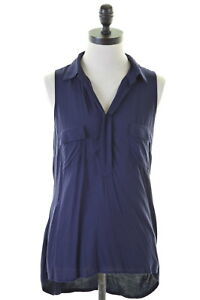 ANDREA-JOVINE-Womens-Top-Size-10-Small-Blue-Rayon
