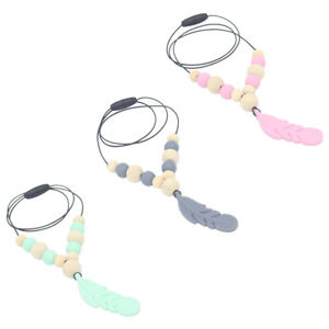 1X Silicone Feather Beads Teething Necklace Baby Girl Teether Chew Toy JewellerW