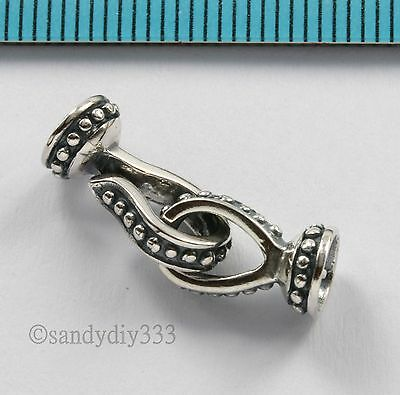 1x OXIDIZED STERLING SILVER BEADING THREAD CORD END CAP EYE HOOK CLASP #2675