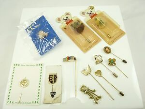 Mixed Lot of Vintage Hatpins Stick Pins ET Bears Whistle Frog etc.