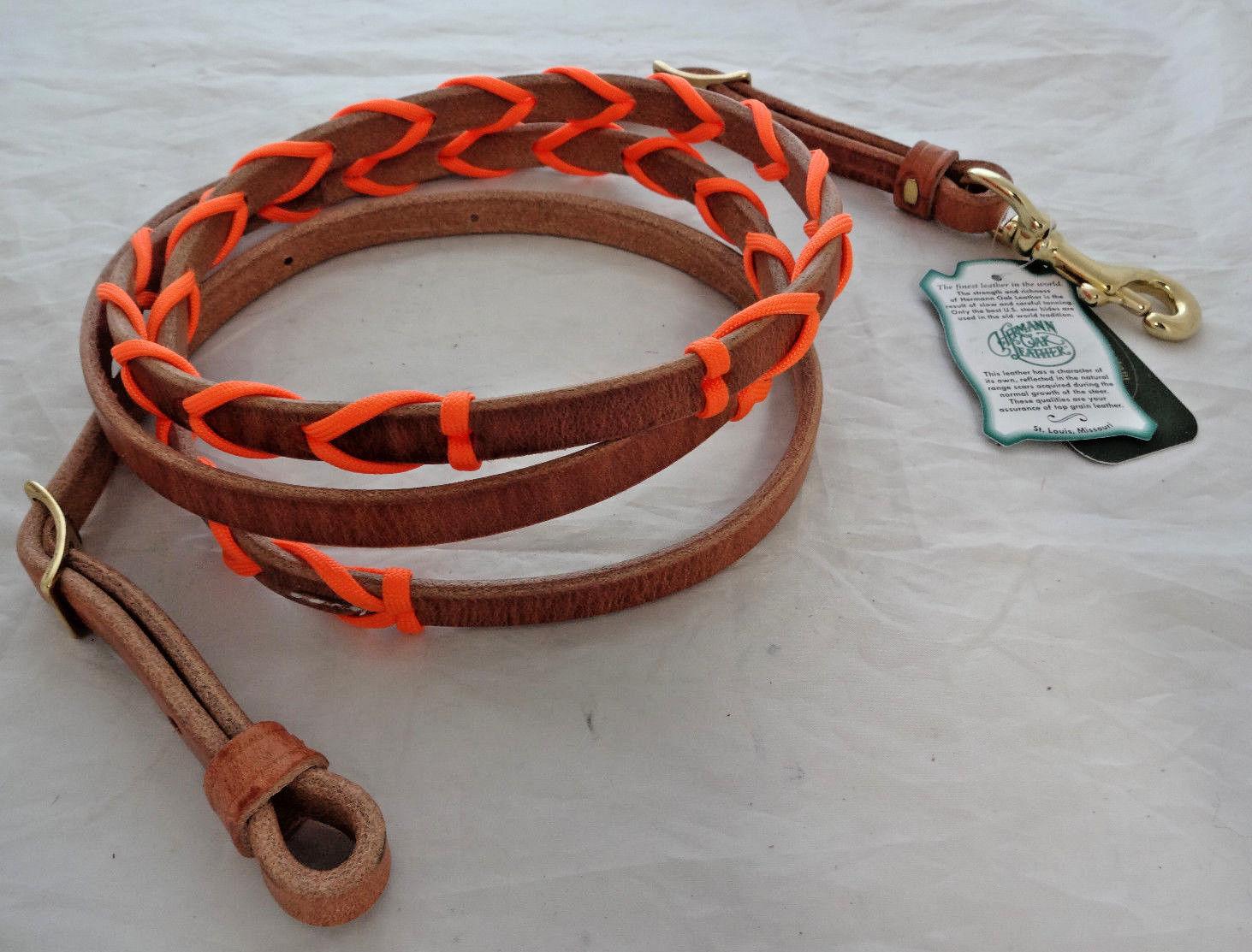 CANNA Roping Rein Heruomon Heruomon Heruomon Oak Imbracatura in pelle Paracord Laced Arancione Horse Tack 270