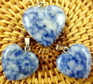 3PC-brazil-sodalite-Heart-shaped-pendant-Gem-necklace-earring-Jewelry-Making