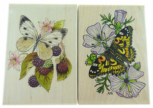 Wooden-Rubber-Butterfly-Stamps-2-Pack-NEW-FP85-P1502P-N