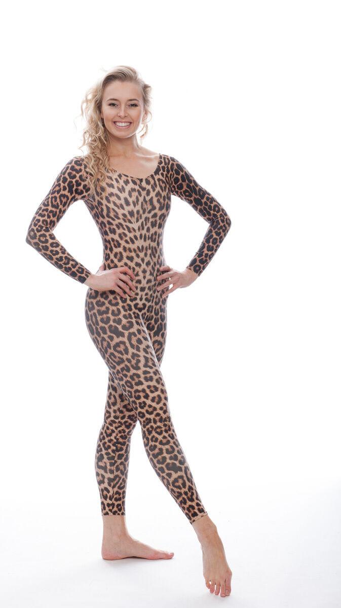 KDC017 Leopard Animal Cat Print Catwoman Costume Halloween Catsuit By Katz