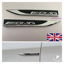 2Pcs Black AMG Turbo Badge For Mercedes-Benz A B C E S Class W176 Sticker Emblem