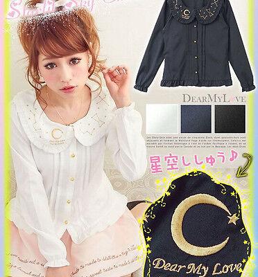 Women Lolita Starry Sky Embroidery Chiffon Long Sleeve Shirt Tops Blouse 3 Color