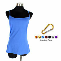 Solid Color Long Camisole Tank Top Plain Basic Layering Tee Shirt +Buckle