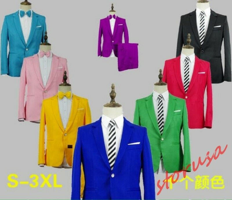 Mens Solid Performance costume Slim Fit One Button Blazer Formal Dress Suits 2pc