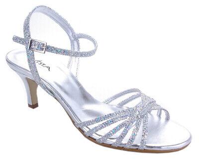 Vista Damensandale Pumps Glitzer Sandale silber NEU | eBay