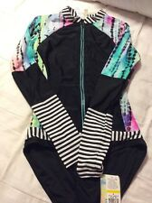 RETRO Hobie Swimsuit Rash Guard Long Sleeve Surfing Beach M Stripes