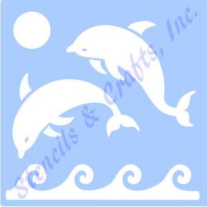 dolphin stencil dolphins template stencils coastal nautical sun