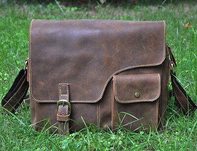 "Men's Genuine Leather Cowhide Vintage Brown 12"" Satchel Shoulder Messenger Bags"