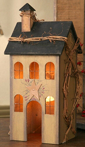 New Primitive Country Tan Saltbox House Lamp Light Windows Grapevine Berry