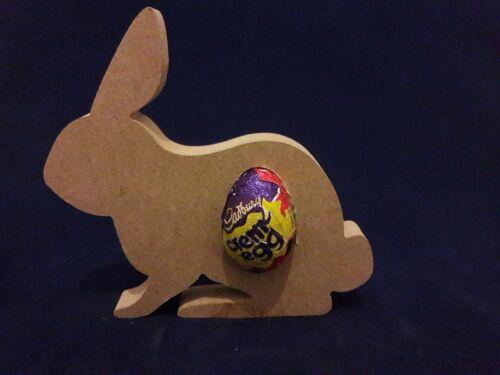 Free Standing Rabbit Shape Creme//Kinder Egg holder  Easter craft shape MDF F61
