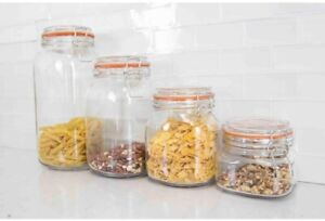 Canister-Set-Clear-Glass-Classic-Kitchen-Canisters-Jars-Heavy-Duty-Durable