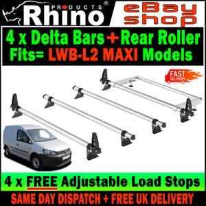 VW Caddy Roof Rack Bars x4 Rhino With Rear Roller 2010-2015 Van For LWB-L2 MAXI