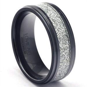 Black-Zirconium-Ring-Gibeon-Meteorite-Inlay-Mens-Wedding-Band-Polished-Steps-LWR