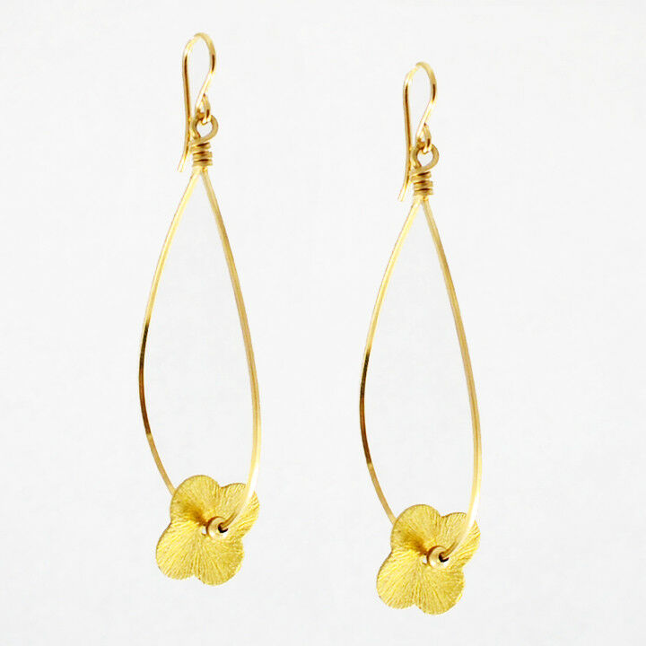 gold Hoop Earrings  Flower