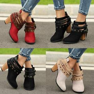 Retro-Women-Ankle-Boots-Ladies-Strappy-Chunky-Mid-Block-Heel-Zip-Up-Casual-Shoes