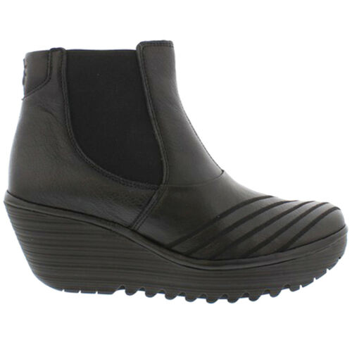 Fly London YAVE064FLY Leather Chelsea Slip-on Wedge Womens Boots