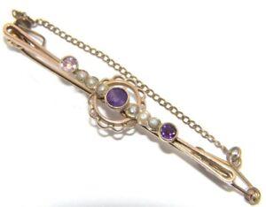 Fine Jewelry 3.1g Clear And Distinctive Intellective Femmes 9ct 9carat Perle Or Et Améthyste Broche Avec Sécurité Chaîne