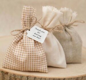 Image Is Loading Shabby Chic Hessian Beige Gingham Wedding Favour Bags