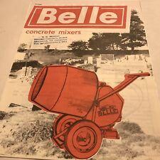 Belle Concrete Mixers Very Rare Original Uncirculated 1960s Sales Brochure