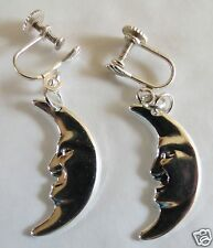 MOON LARGE SILVER TONE EARRINGS WITH SCREW FITTINGS FOR NON PIERCED EARS