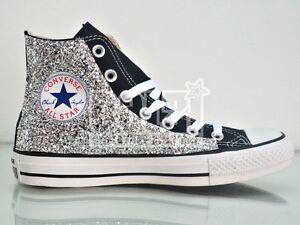 Converse all star Hi nero black glitter argento artigianali