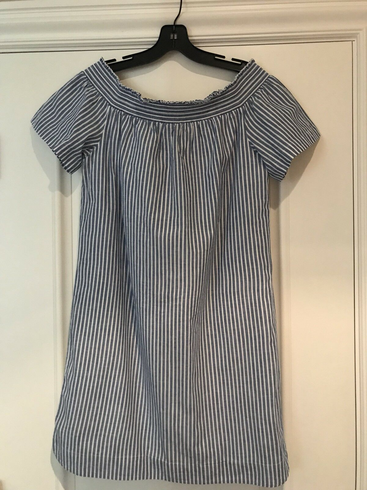 J. CREW FACTORY Off Shoulder Cover Up Dress French bluee White Stripe 4