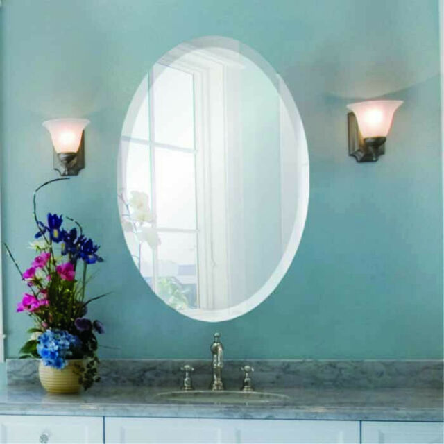 Oval Frameless Wall Mirror With Beveled Edge Bathroom Hardware Included For Sale Online