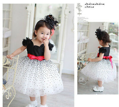 Xmas Clothes Baby Girls Kids Starry Sky Polka Dot Party Fluffy Formal Dress Gown