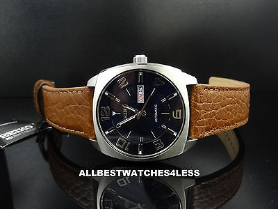Seiko SNKN37 Automatic Blue Dial Leather Strap Day/Date Men's Watch ~ GREAT GIFT
