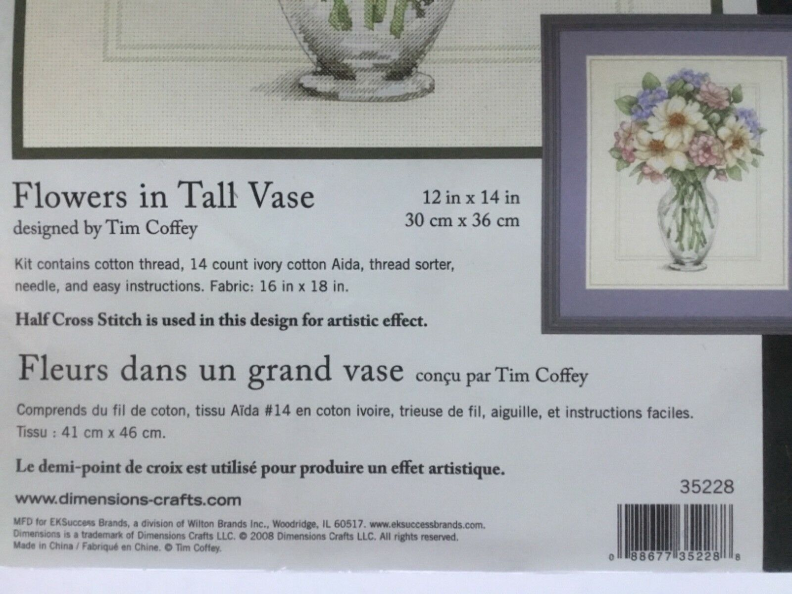 """Dimensions Flowers In Tall Vase Counted Cross Stitch Kit-12/""""X14/"""" 14 Count"""