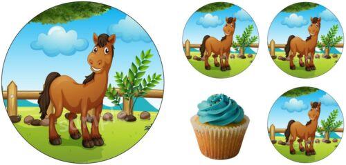 Pferd Pony Eßbar Tortenbild Tortendeko Tortenaufleger Party Deko Muffin neu