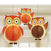 Honeycomb Owl Hanging Decorations Feature Trendy Card Stock Owls With Tissue